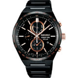 SEIKO精工 SPIRIT 太陽能兩地時間計時手錶-鍍黑/41mm V195-0AE0K(SBPJ039J)