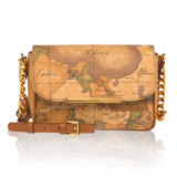Alviero Martini 義大利地圖包 帶鍊小肩包(21cm)-地圖黃