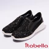 itabella.舒適水鑽蕾絲平底休閒鞋(7237-95黑)