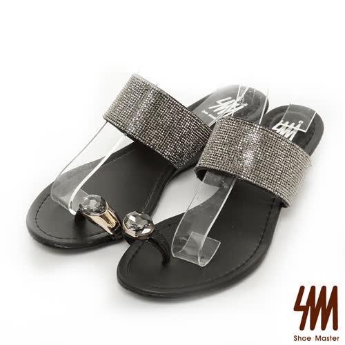 SM~晶鑽系列~寶石指環細鑽低跟楔型拖鞋~黑色