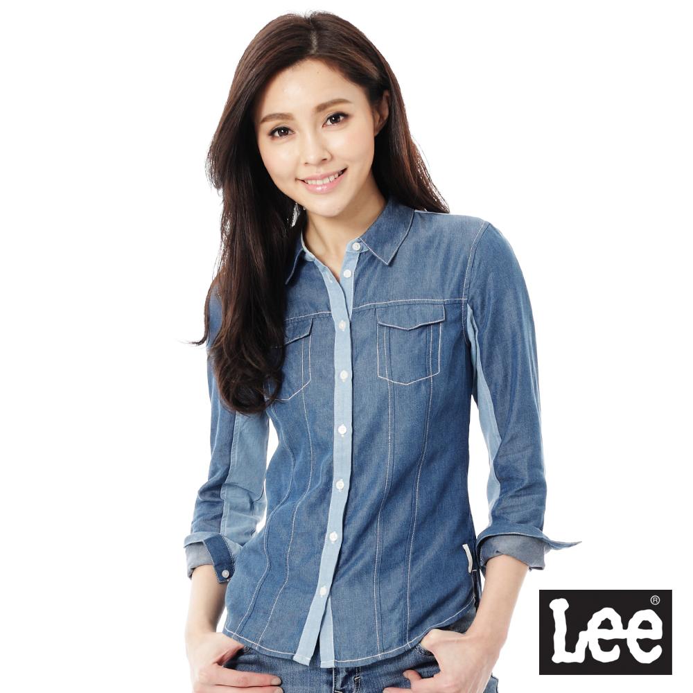Lee 牛仔長袖襯衫 牛仔布拼接 ~女款 淺藍