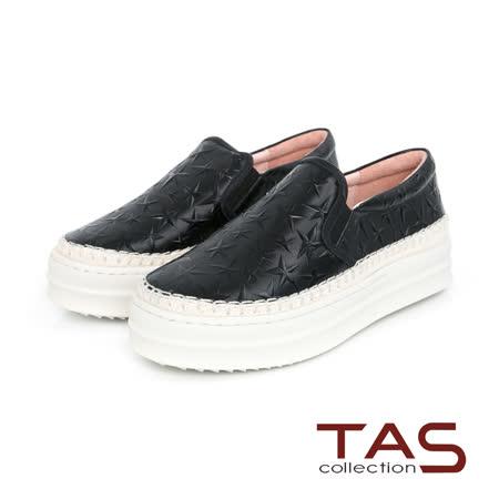 TAS 星星壓紋牛皮厚底懶人鞋-個性黑
