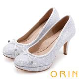 ORIN 晚宴婚嫁首選 閃閃金蔥細緻蝴蝶結高跟鞋-白色