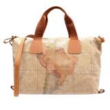 Alviero Martini 義大利地圖包 PU收納附背帶購物包(大)-地圖黃