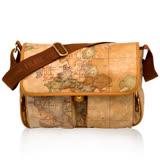 Alviero Martini 義大利地圖包 PU雙口袋側背包(中)-地圖黃