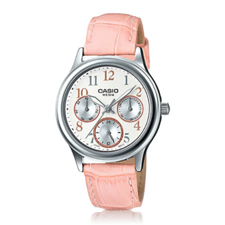 CASIO 卡西歐 優雅皮錶帶指針三眼數字淑女錶 LTP-E306L-4B