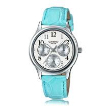 CASIO 卡西歐 優雅皮錶帶指針三眼數字淑女錶 LTP-E306L-7B