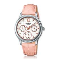 CASIO 卡西歐 優雅皮錶帶指針三眼淑女錶 LTP-E306L-4A