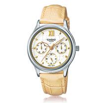 CASIO 卡西歐 優雅皮錶帶指針三眼淑女錶 LTP-E306L-7A