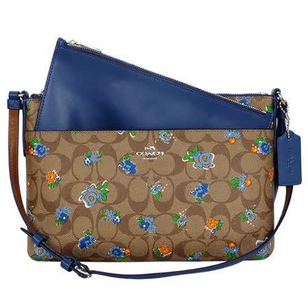 COACH卡其C Logo藍色花紋搭真皮收納袋方扁斜背包