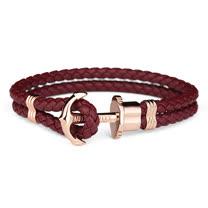 PAUL HEWITT 德國出品 PHREP 酒紅色皮革繩編織 玫瑰金色船錨 手環 手鍊