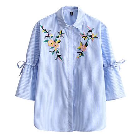 【E . A Runway】繡花淺藍條紋七分袖襯衫EA421