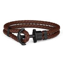 PAUL HEWITT 德國出品 PHREP 棕色皮革繩編織 黑色船錨 手環 手鍊