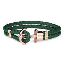 PAUL HEWITT 德國出品 PHREP 墨綠色皮革繩編織 玫瑰金色船錨 手環 手鍊