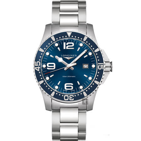 LONGINES 浪琴 征服者300米潛水錶-藍/44mm L38404966