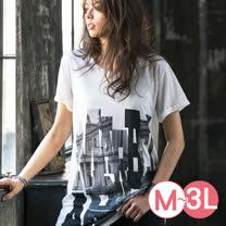 日本Portcros 預購-長版印花寬鬆舒適T恤(城市花樣/M-3L)
