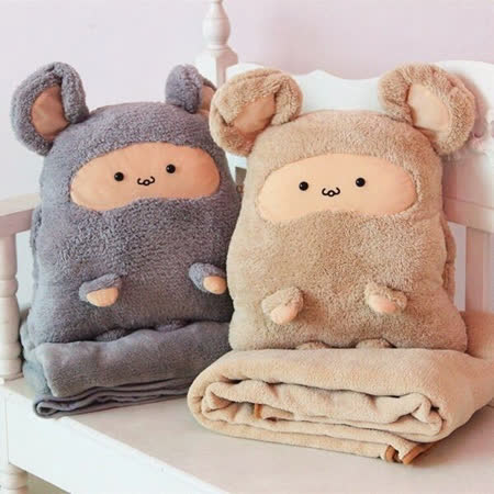 【PS Mall】卡卡鼠汽車暖手抱枕被兩用靠墊 冷氣毯子空調毯 3入 (J830)