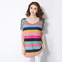【Stoney.ax】韓版寬鬆條紋針織緹花雪紡圓領短袖長版衣-粉色條
