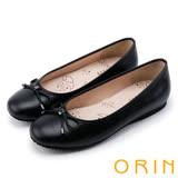 ORIN 時尚甜心 經典細帶蝴蝶結平底娃娃鞋-黑色