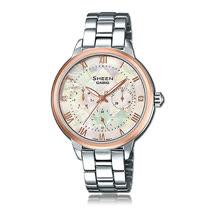 CASIO 卡西歐 SHEEN 奢華珍珠母錶面三眼女錶 SHE-3055SG-7A