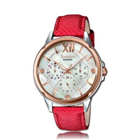 CASIO 卡西歐 SHEEN 時尚奢華晶鑽皮革女錶 SHE-3056GL-7A