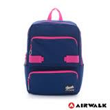 AIRWALK -撞色拉鍊 可愛TT減壓筆電後背包-藍粉