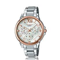 CASIO 卡西歐 SHEEN 時尚奢華晶鑽玫瑰金女錶 SHE-3056SG-7A
