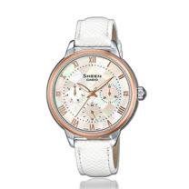 CASIO 卡西歐 SHEEN 時尚奢華珍珠母錶面皮革女錶 SHE-3057PGL-7A