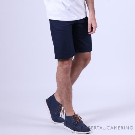 ROBERTA諾貝達 進口素材 台灣製 純棉細格紋休閒短褲 深藍