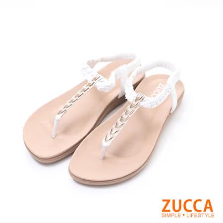 ZUCCA【z6132we】日系金蔥鑽T字夾腳涼鞋-白色