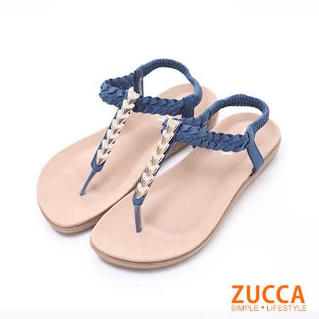 ZUCCA【z6132be】日系金蔥鑽T字夾腳涼鞋-藍色