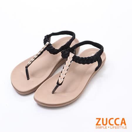 ZUCCA【z6132bk】日系金蔥鑽T字夾腳涼鞋-黑色
