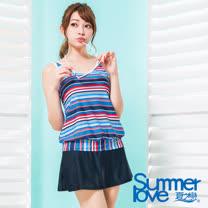 【夏之戀SUMMER LOVE】大女條紋印花長版二件式泳衣S17727