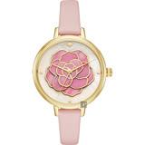 Kate Spade 浪漫薔薇時尚手錶-粉紅x金框/34mm KSW1257