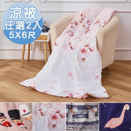 台灣製 柔絲絨雙面花包邊舖棉四季涼被5X6尺-任選2件