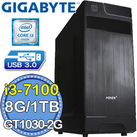 技嘉H110平台【迅雷勇者】Intel第七代i3雙核 GT1030-2G獨顯 1TB效能電腦