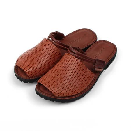 (女) X-shock 手工真皮編織帶女涼鞋 咖 女鞋 鞋全家福