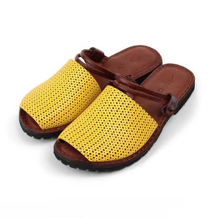 (女) X-shock 手工真皮編織帶女涼鞋 黃 女鞋 鞋全家福