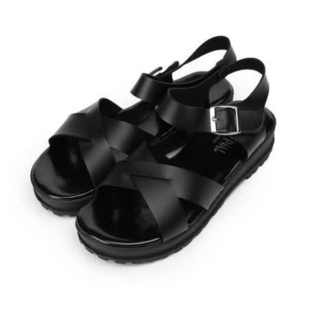 (女) 仿皮交叉寬帶涼鞋 黑 女鞋 鞋全家福