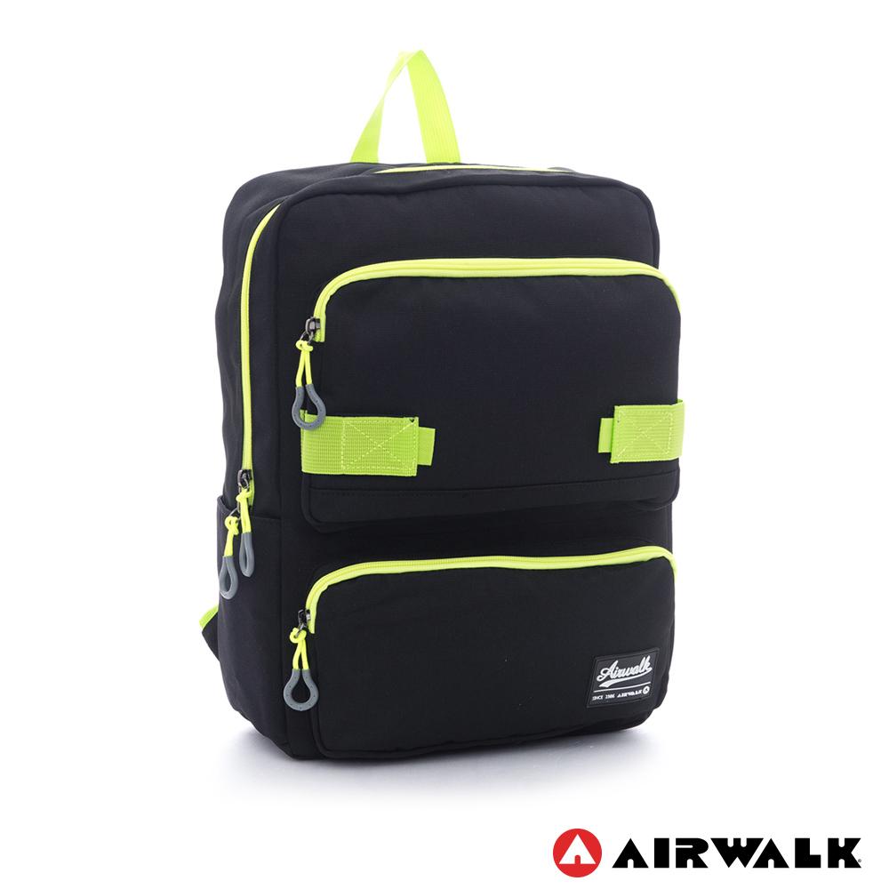 AIRWALK ~撞色拉鍊 可愛TT減壓筆電後背包~黑綠