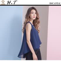 玄太- 優雅無袖造型下擺純色雪紡上衣(藍)