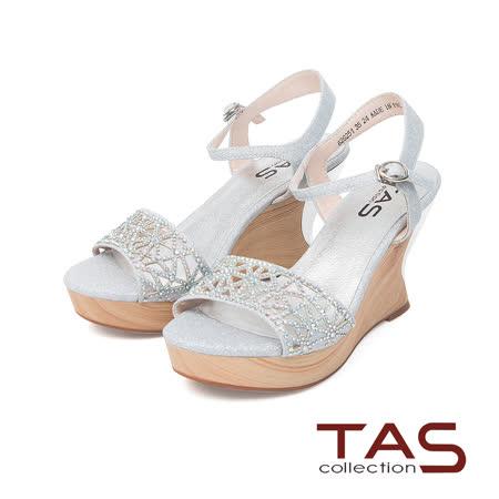 TAS 閃耀水鑽幾何鏤空木質楔型涼鞋-璀燦銀