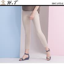 玄太- 純色舒適鬆緊褲頭彈性長褲(卡其)