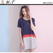 玄太-簡約透氣棉麻長版上衣(藍)