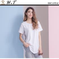 玄太-透氣棉質特色條紋長版上衣 (白色)