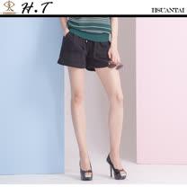 玄太- 純色抽繩鬆緊褲頭舒適短褲(黑)