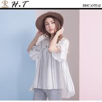玄太-V領幾何條紋造型袖棉麻上衣 (白)
