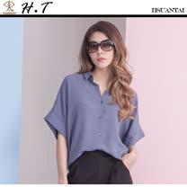 玄太-純色造型舒適柔感寬鬆上衣 (藍)