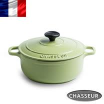 法國【CHASSEUR】獵人琺瑯鑄鐵彩鍋22cm(開心果綠) 加贈橄欖木圓攪拌匙