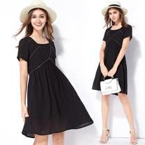 【KVOLL】黑色V領滾邊二件套連衣裙